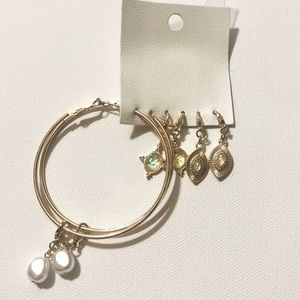 Free People Mix N Match Charms Set Classic Hoops
